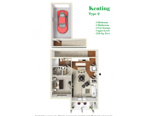 Kelly Reserve Apartments Overland Park Kansas 3D Floor Plan of Keating 2 Plan