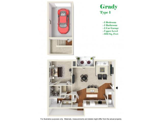 Kelly Reserve Apartments Overland Park Kansas Grady 1 Floor Plan