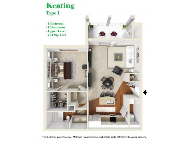 Kelly Reserve Apartments Overland Park Kansas 3D Floor Plan of Keating 1 Plan
