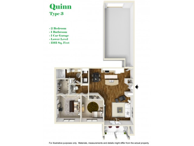 Kelly Reserve Apartments Overland Park Kansas Quinn 3 Floor Plan