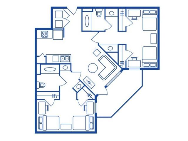 2 Bedroom, 2 Bath (DBL OCC)