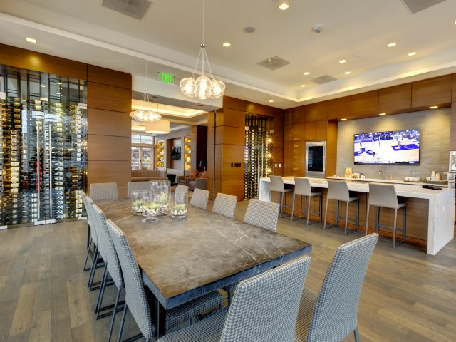 Image of Wine Wall, Entertainment Kitchen & Club Room for One Light Luxury Apartments