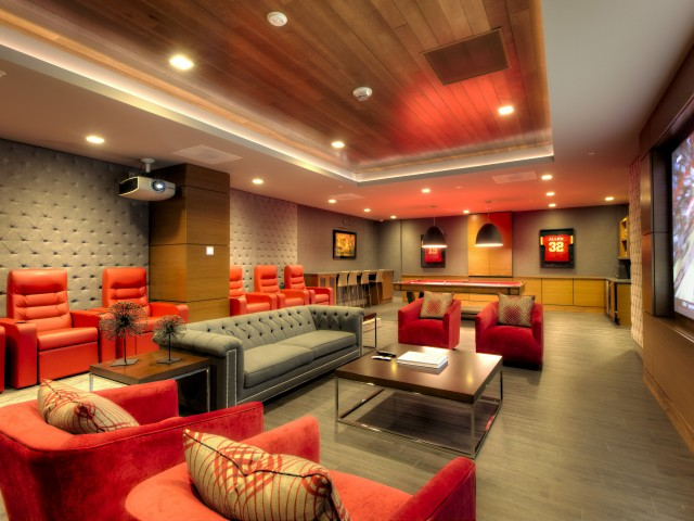Image of Theater/Social Room with Pool Table for One Light Luxury Apartments