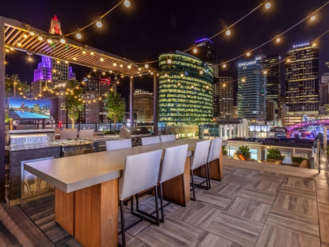 Image of Outdoor Grilling Stations and Firepits for Two Light Luxury Apartments
