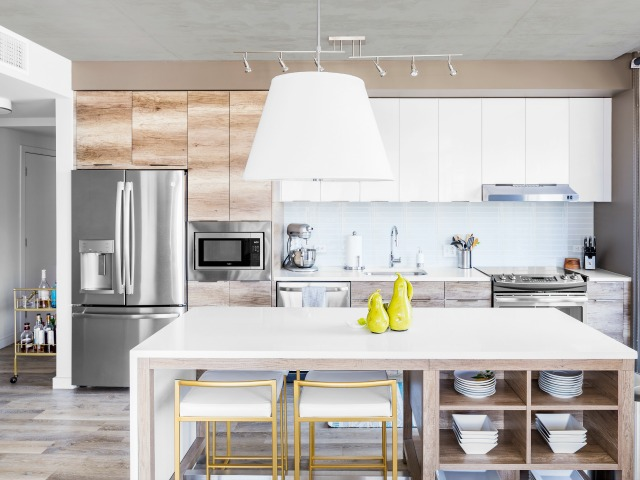Image of Gourmet, Chef-Inspired Kitchen for Two Light Luxury Apartments