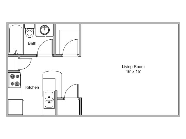 floor plan image of a studio apartment at Quail Creek in Springfield, MO