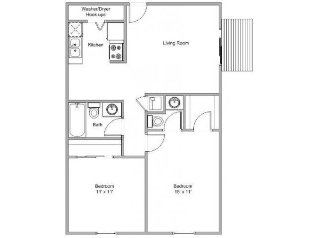 2 bedroom floor plan image