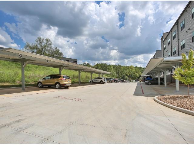 covered parking lot at Galloway Creek