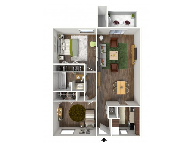 2 Bedroom, 1 Bathroom; 920sqft