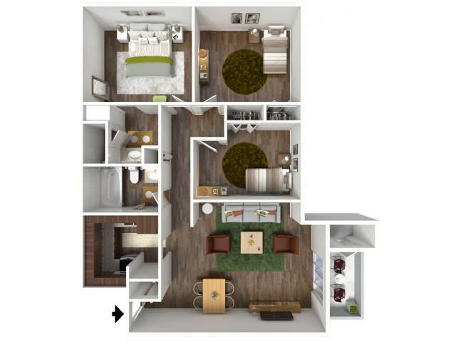 3 Bedroom, 1.5 Bathroom; 1120sqft