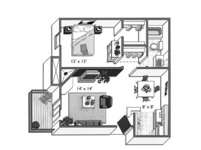 Acorn (1x1A): 1 Bedroom, 1 Bathroom; 689sqft