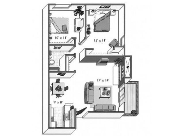 Beech (2x1A): 2 Bedroom, 1 Bathroom; 900sqft