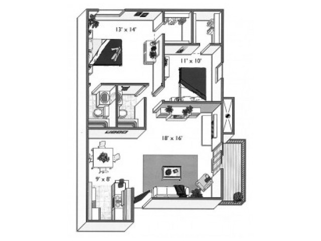 Willow (2x2A): 2 Bedroom, 2 Bathroom; 1000sqft