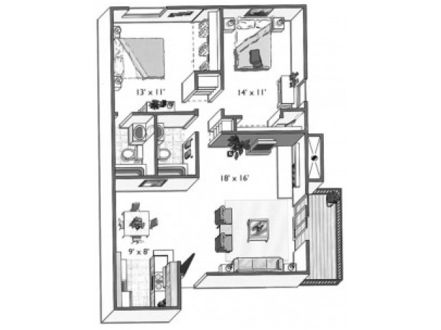 Pine (2x2B): 2 Bedroom, 2 Bathroom; 1000sqft