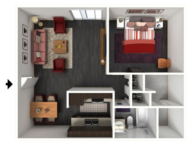 1X1C Floorplan: 1 Bedroom, 1 Bathroom - 750 sqft
