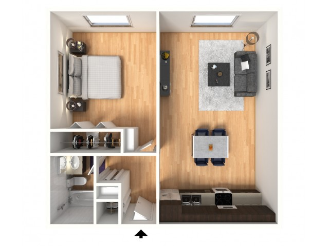 1 Bedroom, 1 Bathroom; 516sqft