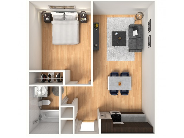 1x1A Floorplan: 1 Bedroom, 1 Bathroom; 488sqft