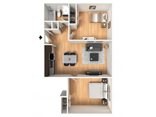 2x1A Floorplan: 2 Bedroom, 1 Bathroom; 656sqft