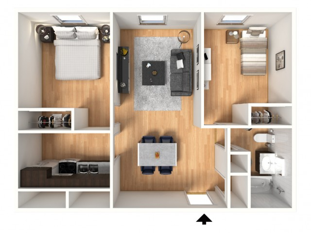 2X1B Floorplan: 2 Bedroom, 1 Bathroom; 776 sqft
