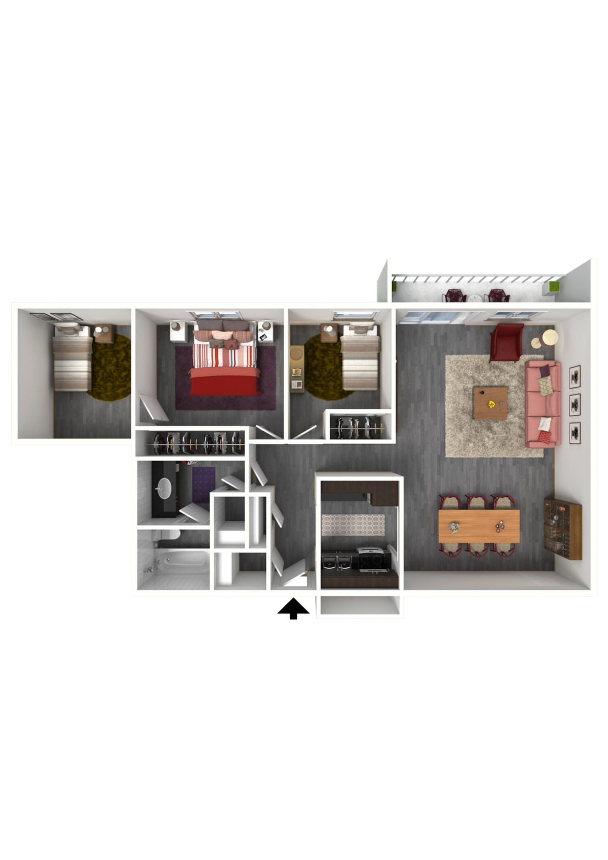 3 Bedroom, 1 Bathroom; 1000sqft