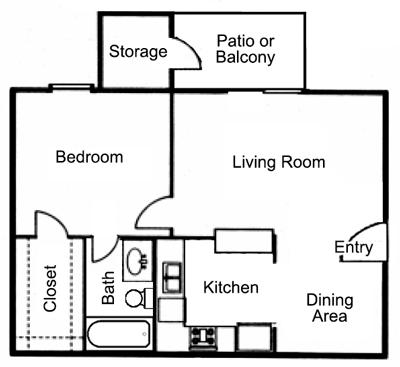 A1: 1 Bedroom, 1 Bathroom; 606sqft