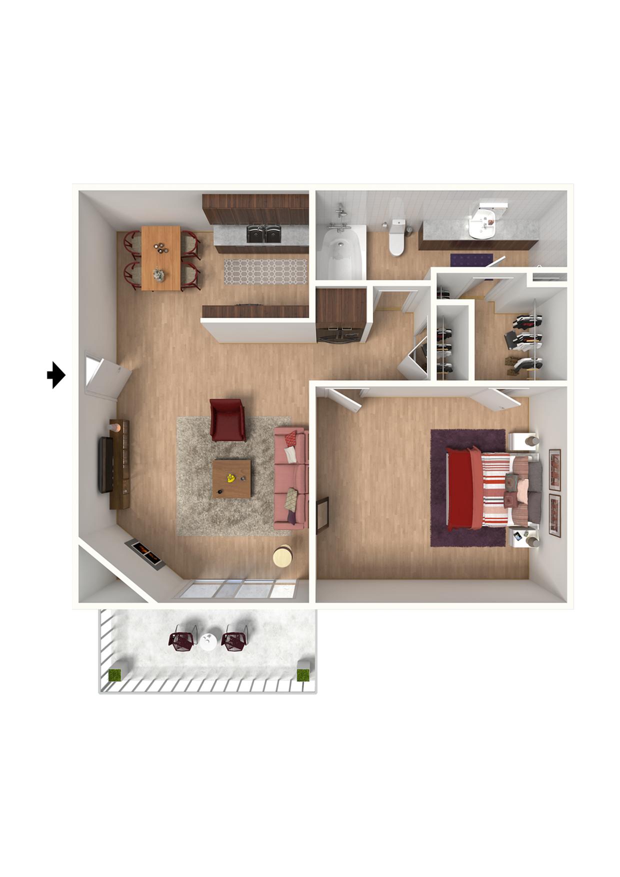 A1 Floorplan: 1 Bedroom, 1 Bathroom - 672 sqft