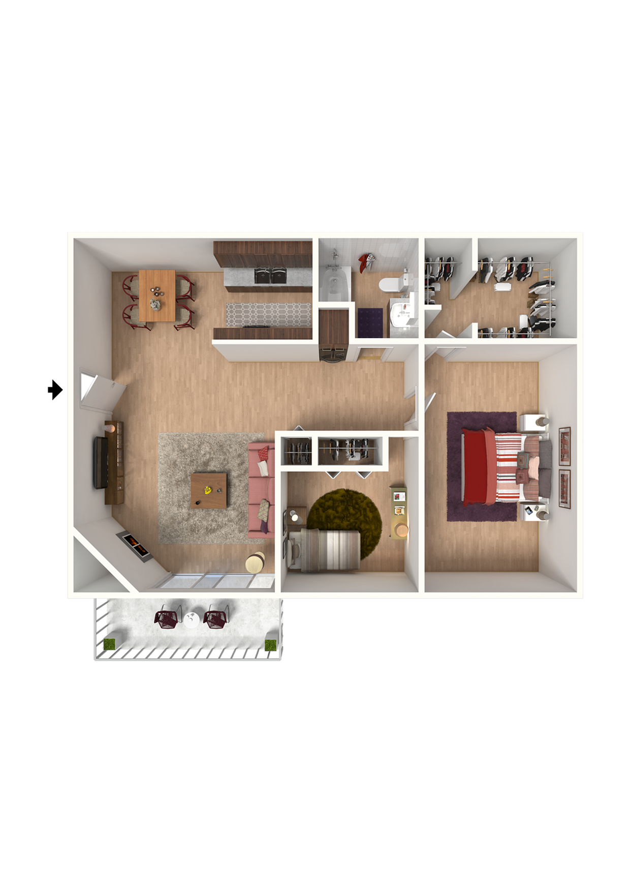 B1 Floorplan: 2 Bedroom, 1 Bathroom - 912 sqft