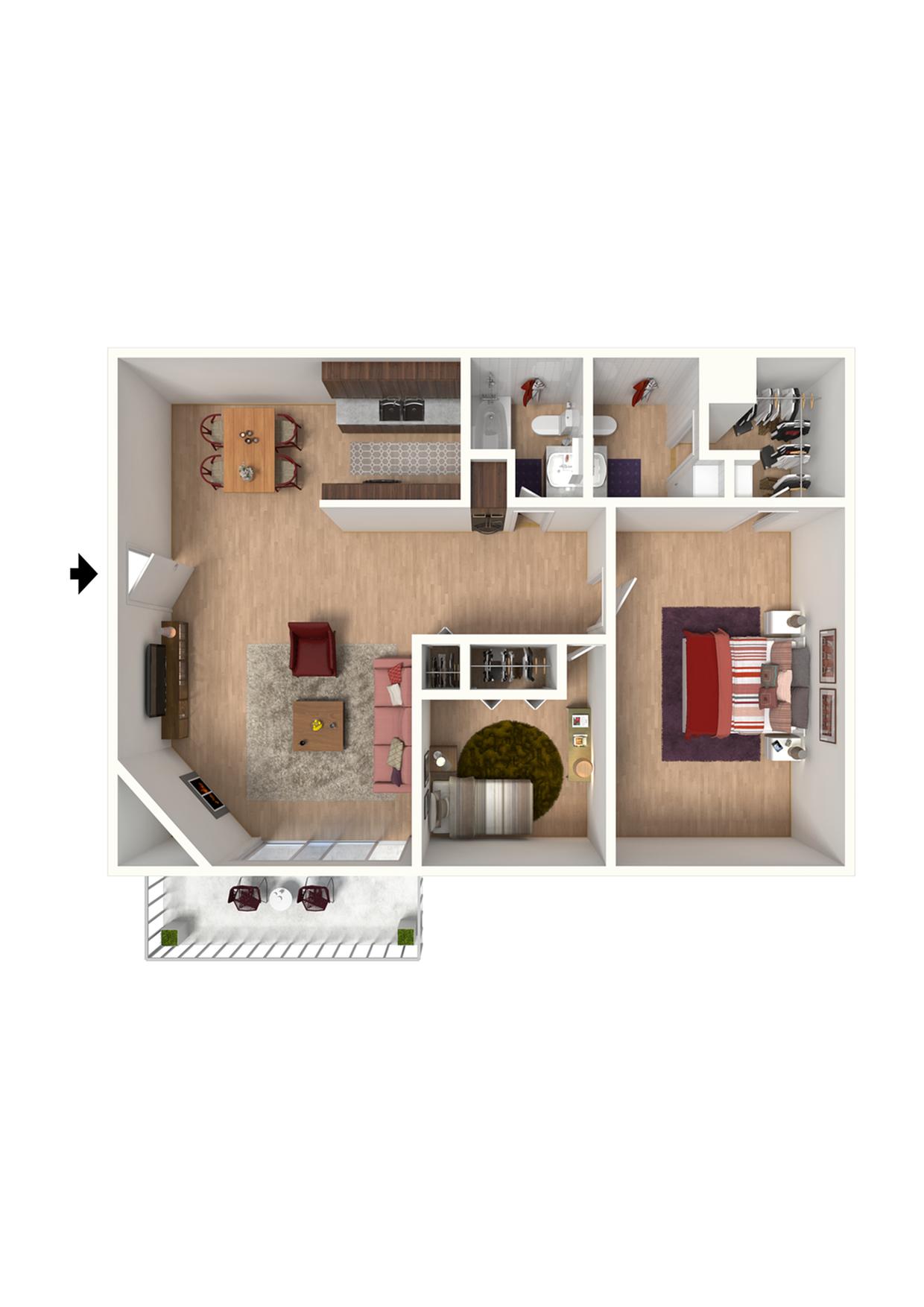 B2 Floorplan: 2 Bedroom, 2 Bathroom - 960 sqft