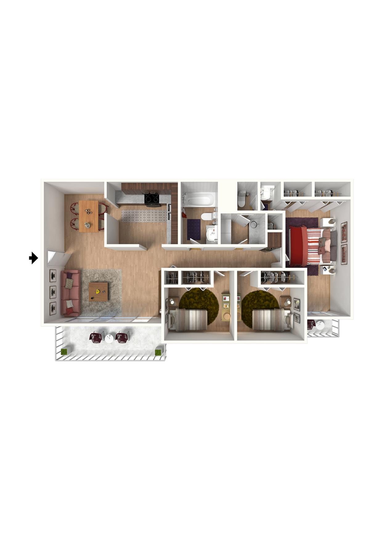C1 Floorplan: 3 Bedroom, 2 Bathroom - 1300 sqft