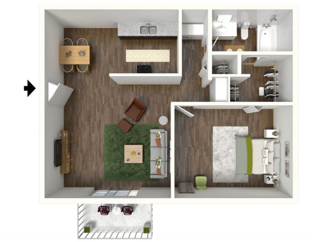 A1 Floorplan: 1 Bedroom, 1 Bathroom, 652sqft