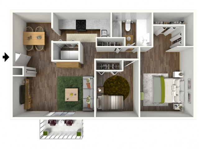 B1 Floorplan: 2 Bedroom, 1 Bathroom, 888sqft