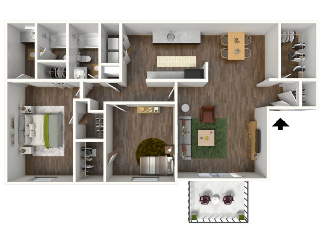 Cornerstone: 2 Bedroom, 2 Bath Apartment, 1250sqft
