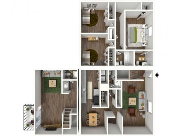 Pinnacle: 3 Bedroom, 2.5 Bath Townhome, 2000sqft