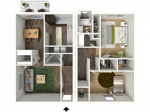 2 Bedroom, 1.5 Bathroom Townhouse