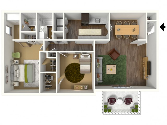 B2 2x2 Garden Apartment 2 Bed Apartment Rainbow Forest