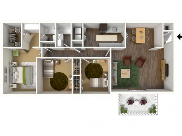 3 Bedroom, 2 Bathroom Apartment