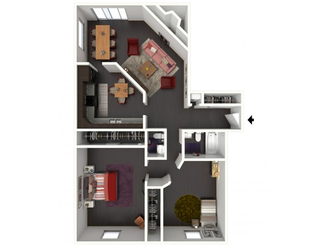 B1.5B Floorplan: 2 Bedroom, 1.5 Bathroom - 1134sqft.
