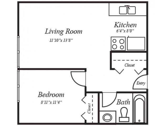 1X1A: 1 Bedroom, 1 Bathroom; 460sqft