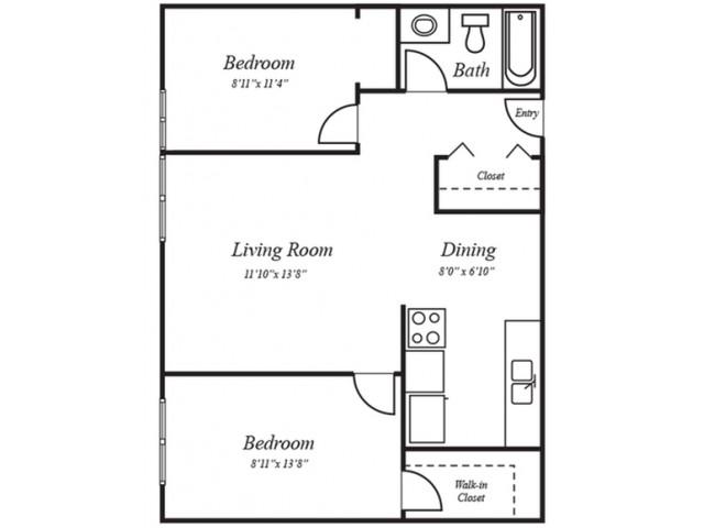 2x1A: 2 Bedroom, 1 Bathroom; 680sqft