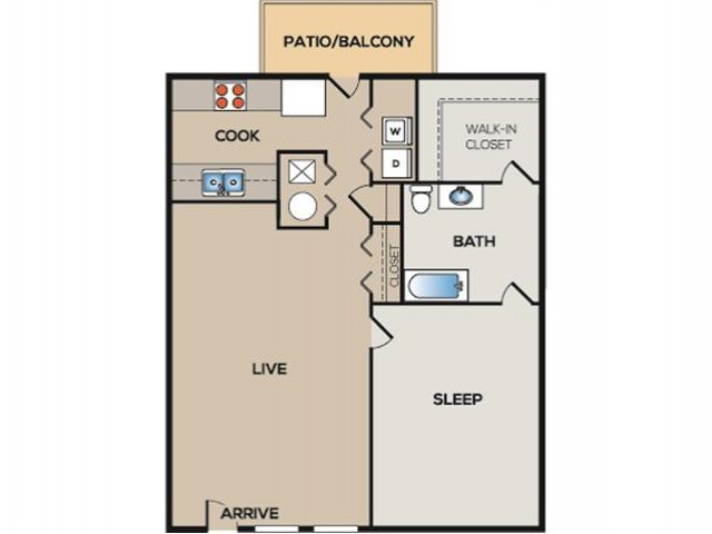 1 Bedroom, 1 Bathroom Apartment. 837sqft