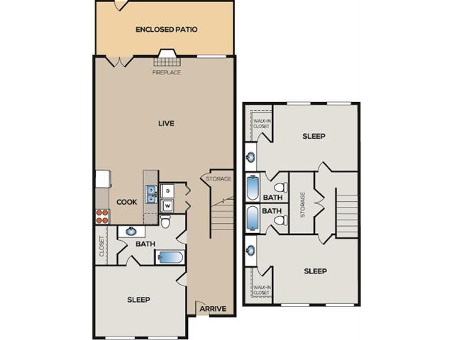 C3: 3 Bedroom, 3 Bathroom, 3 Bathroom Townhome; 1750sqft