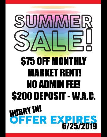 Summer Sale! Rents Slashed!