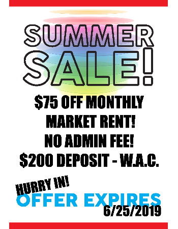 Summer Sale! Rents Slashed!