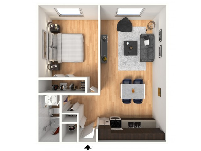 1x1 Floorplan: 1 Bedroom, 1 Bathroom; 516sqft