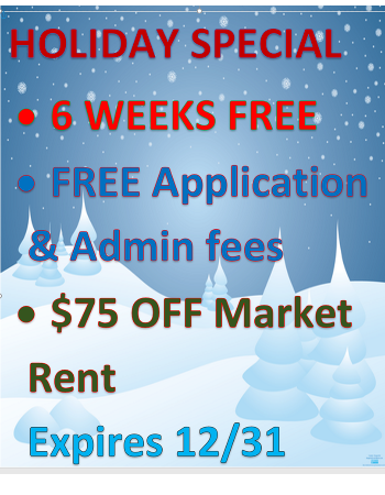 WOW! 6 WEEKS RENT FREE! Plus take $75 off Market Rent Monthly!