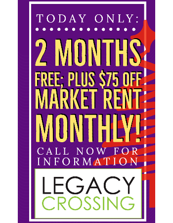 2 MONTHS FREE, Plus $75 OFF MARKET RENT MONTHLY! Today Only, Call for a Tour Today!