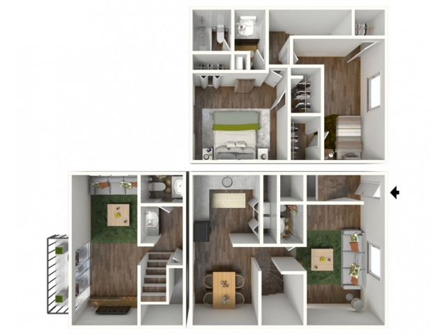 3D Floorplan of Avantic Renovation, Meridian, 2 Bedroom, 2 Bath Townhome, 1500 SQFT