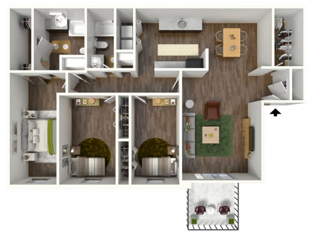 Avantic Renovation, 3 Bedroom, 2 Bath Apartment, 1400 Sqft