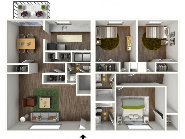 3D Floorplan of Avantic Renovation, 3 Bedroom, 2.5 Bathroom Townhome, 1600 Sqft