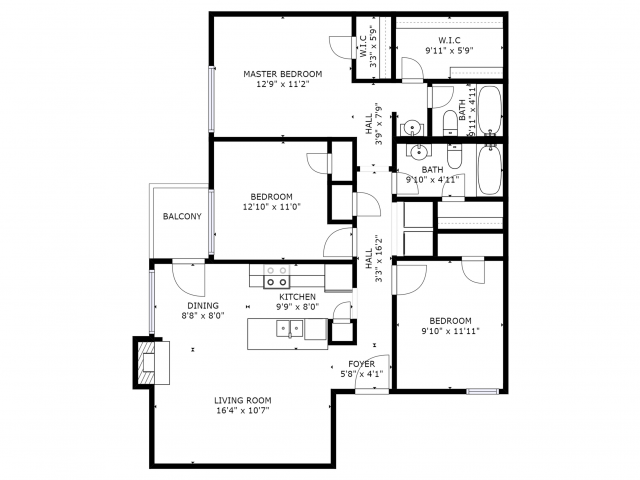 C1 Floorplan: 3 Bedroom, 2 Bathroom - 1114sqft
